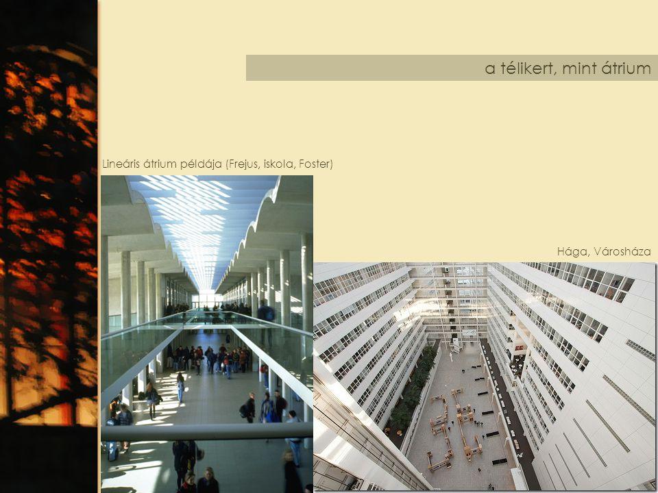 a télikert, mint átrium Hága, Városháza Lineáris átrium példája (Frejus, iskola, Foster)