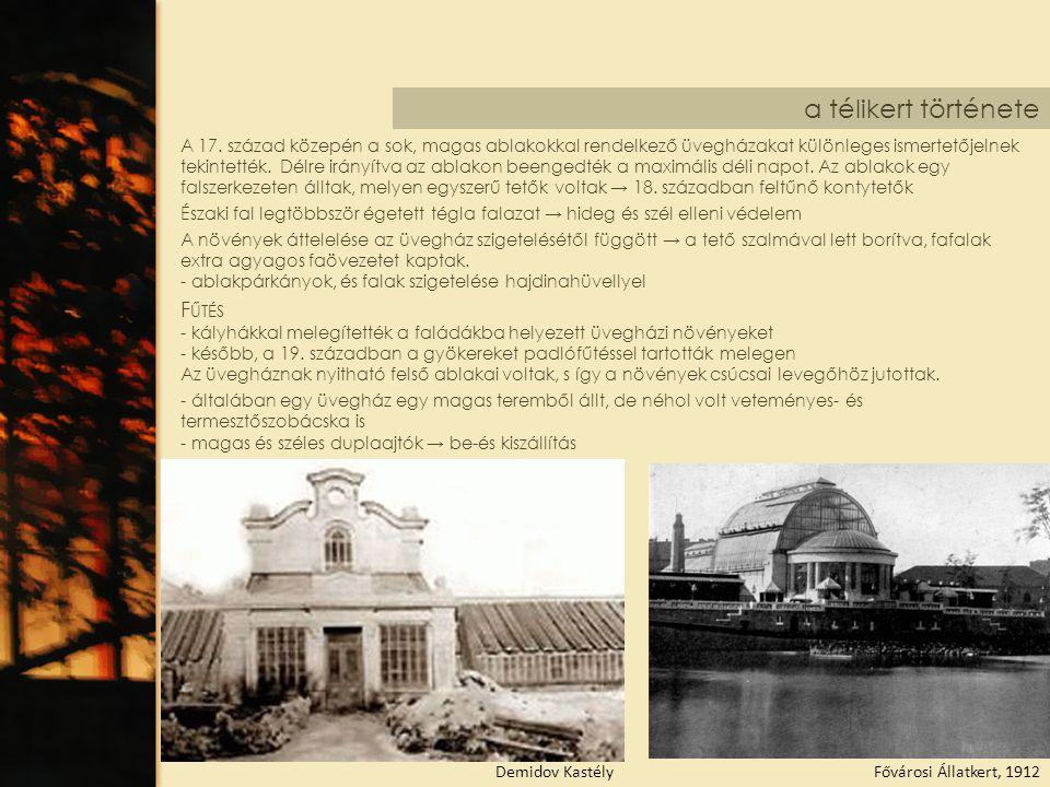 a télikert története Fővárosi Állatkert, 1912Demidov Kastély A 17. század közepén a sok, magas ablakokkal rendelkező üvegházakat különleges ismertetőj