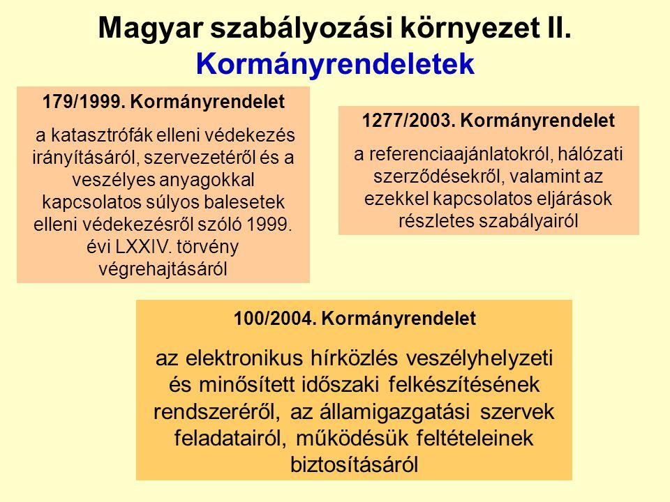 Magyar szabályozási környezet I. Törvények  2003. évi C. törvény az elektronikus hírközlésről (EHT);  1993. évi CX. törvény a honvédelemről  2004.