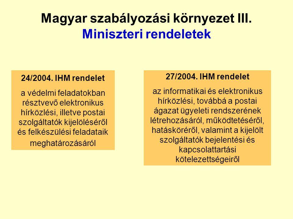 Magyar szabályozási környezet II. Kormányrendeletek 179/1999. Kormányrendelet a katasztrófák elleni védekezés irányításáról, szervezetéről és a veszél