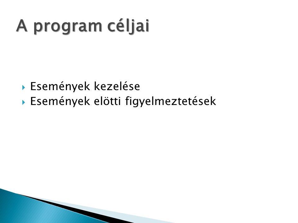  Események kezelése  Események elötti figyelmeztetések A program céljai