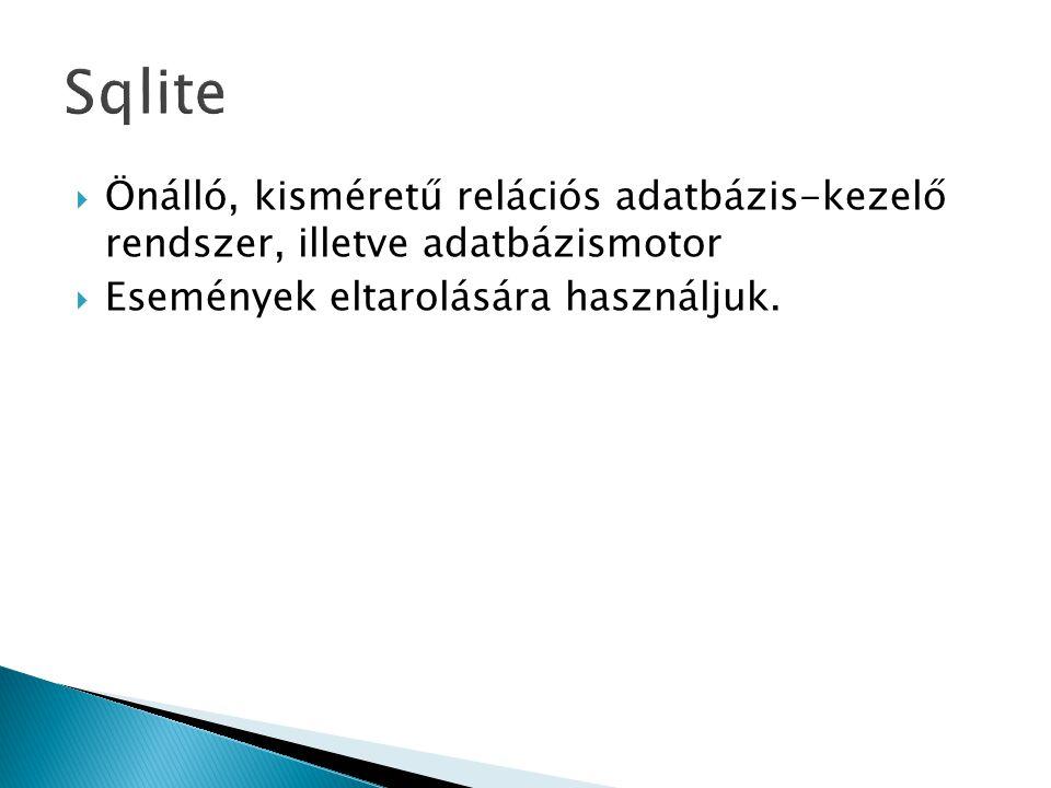  Önálló, kisméretű relációs adatbázis-kezelő rendszer, illetve adatbázismotor  Események eltarolására használjuk.