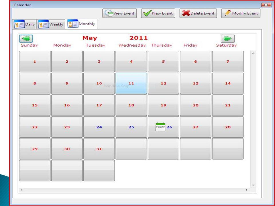  Monthly ◦ Belépéskor ez az aktuális nézet. ◦ Az aktuális hónapot mutatja. ◦ A mai napot egy today kép jelöli. ◦ Azok a napok melyeken események talá
