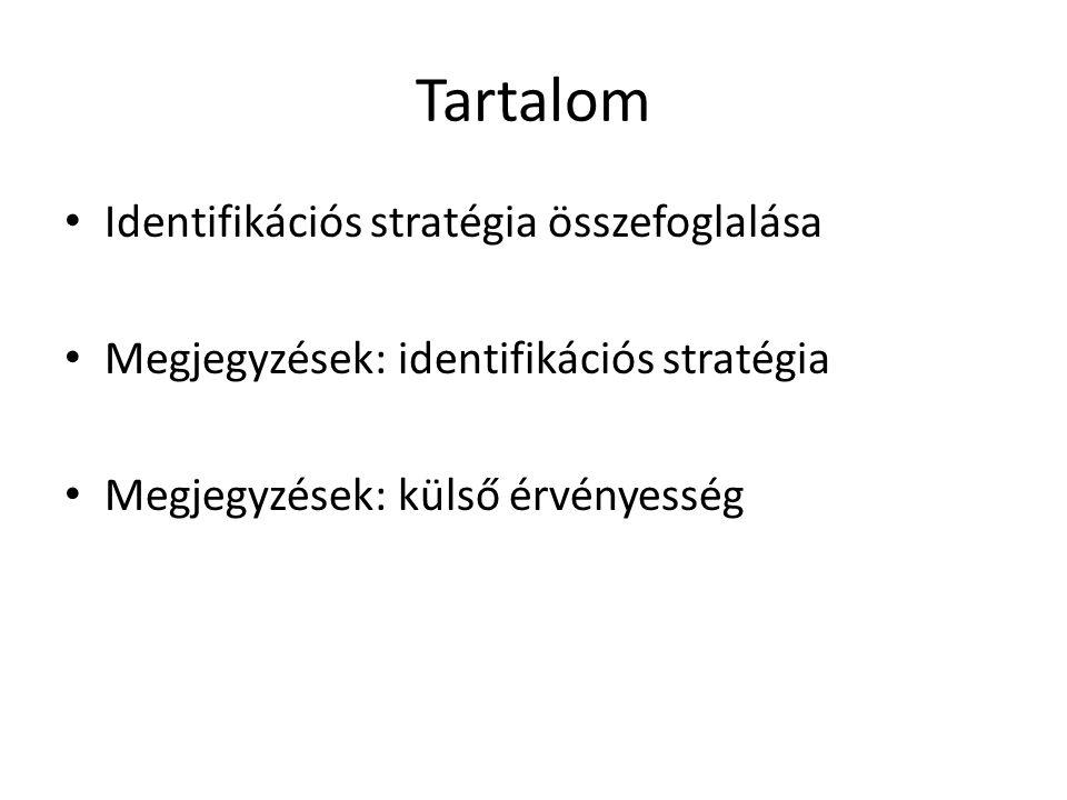 Tartalom • Identifikációs stratégia összefoglalása • Megjegyzések: identifikációs stratégia • Megjegyzések: külső érvényesség