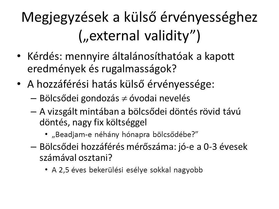 """Megjegyzések a külső érvényességhez (""""external validity ) • Kérdés: mennyire általánosíthatóak a kapott eredmények és rugalmasságok."""