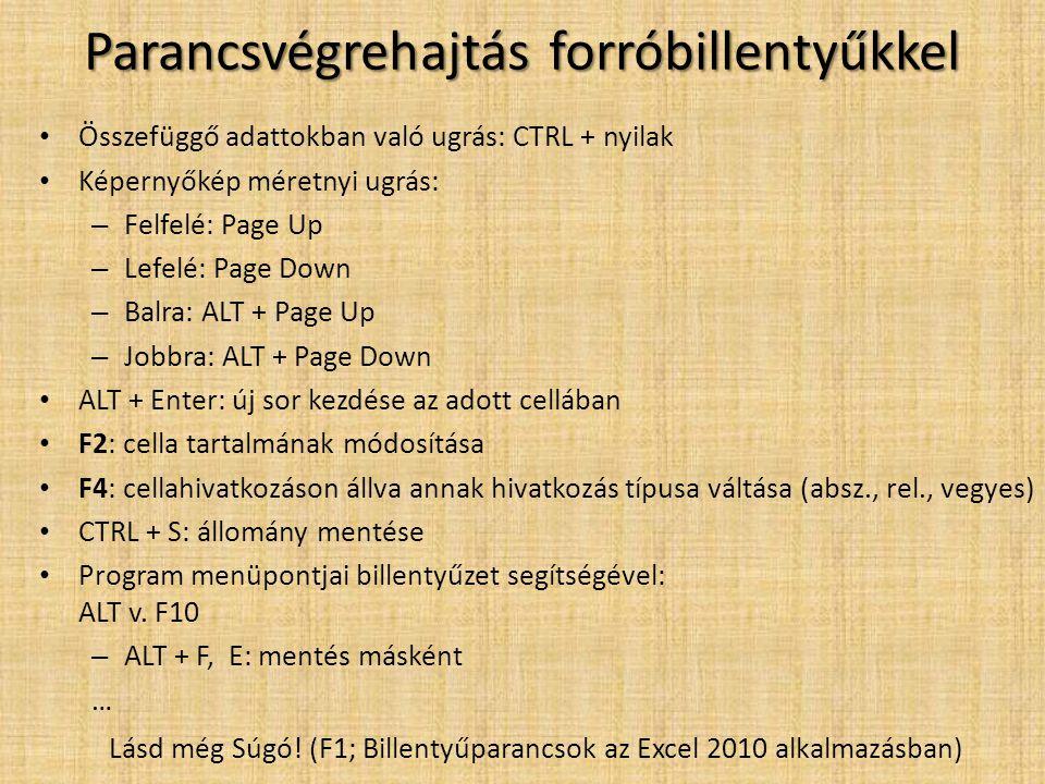 • Összefüggő adattokban való ugrás: CTRL + nyilak • Képernyőkép méretnyi ugrás: – Felfelé: Page Up – Lefelé: Page Down – Balra: ALT + Page Up – Jobbra