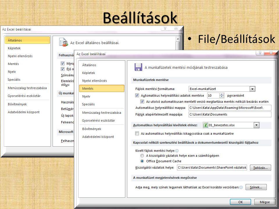 Beállítások • File/Beállítások