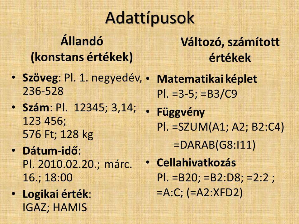 Adattípusok Állandó (konstans értékek) • Szöveg: Pl. 1. negyedév, 236-528 • Szám: Pl. 12345; 3,14; 123 456; 576 Ft; 128 kg • Dátum-idő: Pl. 2010.02.20