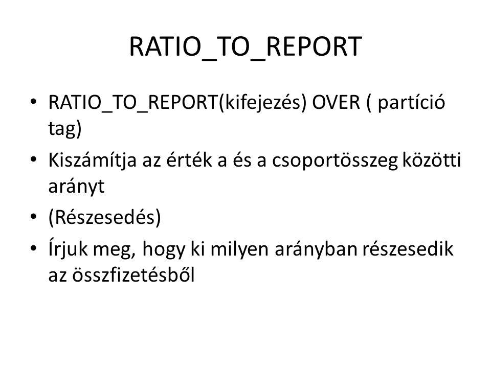 Példa • SELECT ename as nev, sal as fizu, RATIO_TO_REPORT(sal) OVER () as részesedés FROM emp ORDER BY sal DESC;