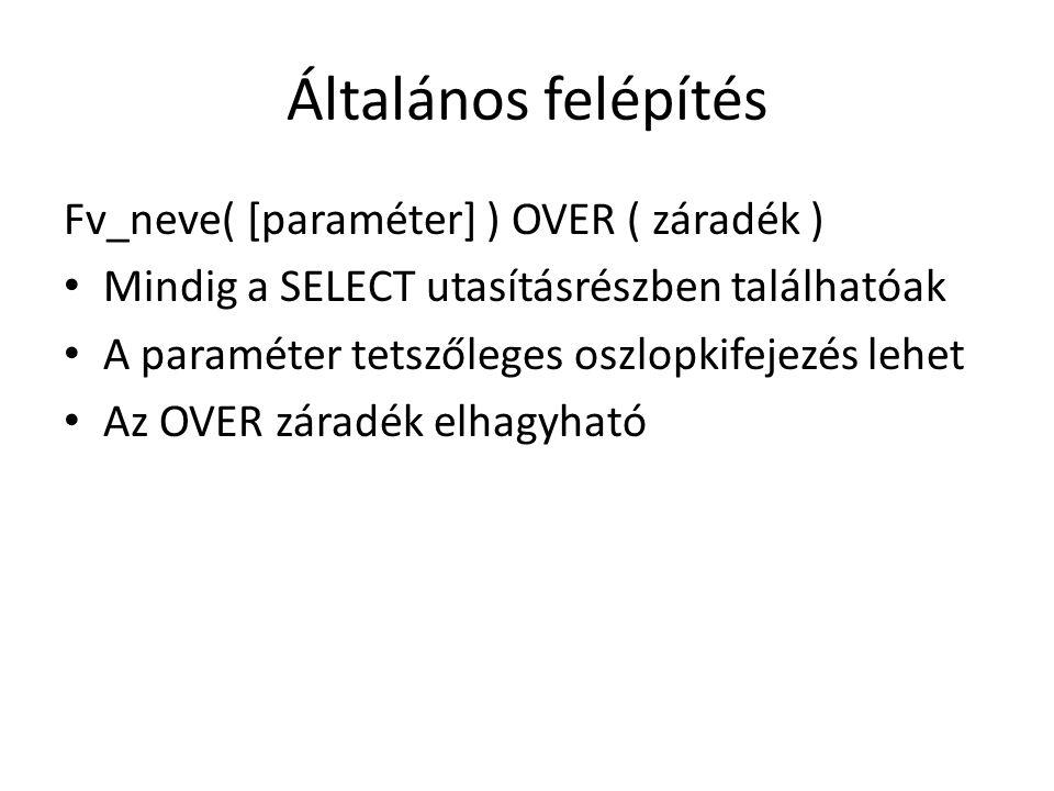 Általános felépítés Fv_neve( [paraméter] ) OVER ( záradék ) • Mindig a SELECT utasításrészben találhatóak • A paraméter tetszőleges oszlopkifejezés lehet • Az OVER záradék elhagyható