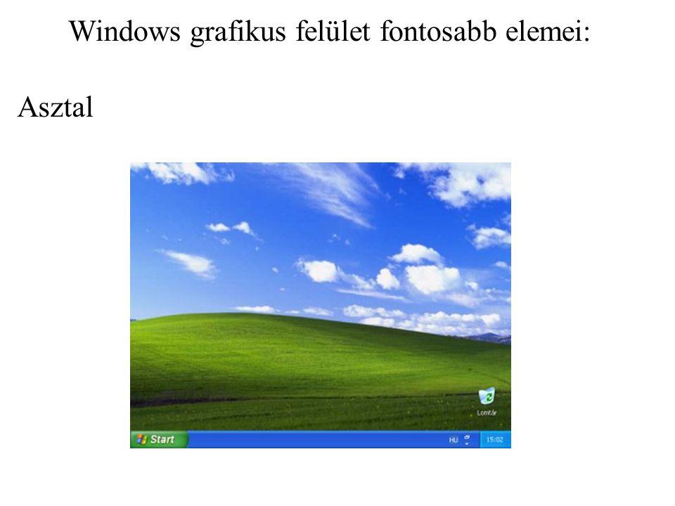 Asztalnak nevezzük a Windows indításakor megjelenő képernyőterületet.