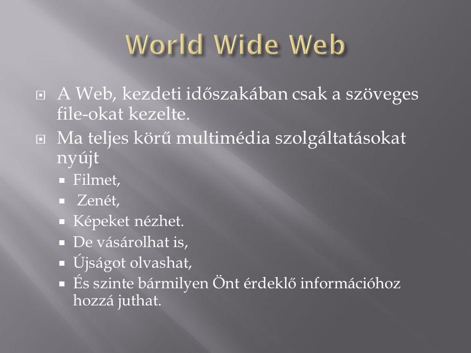  A Web, kezdeti időszakában csak a szöveges file-okat kezelte.