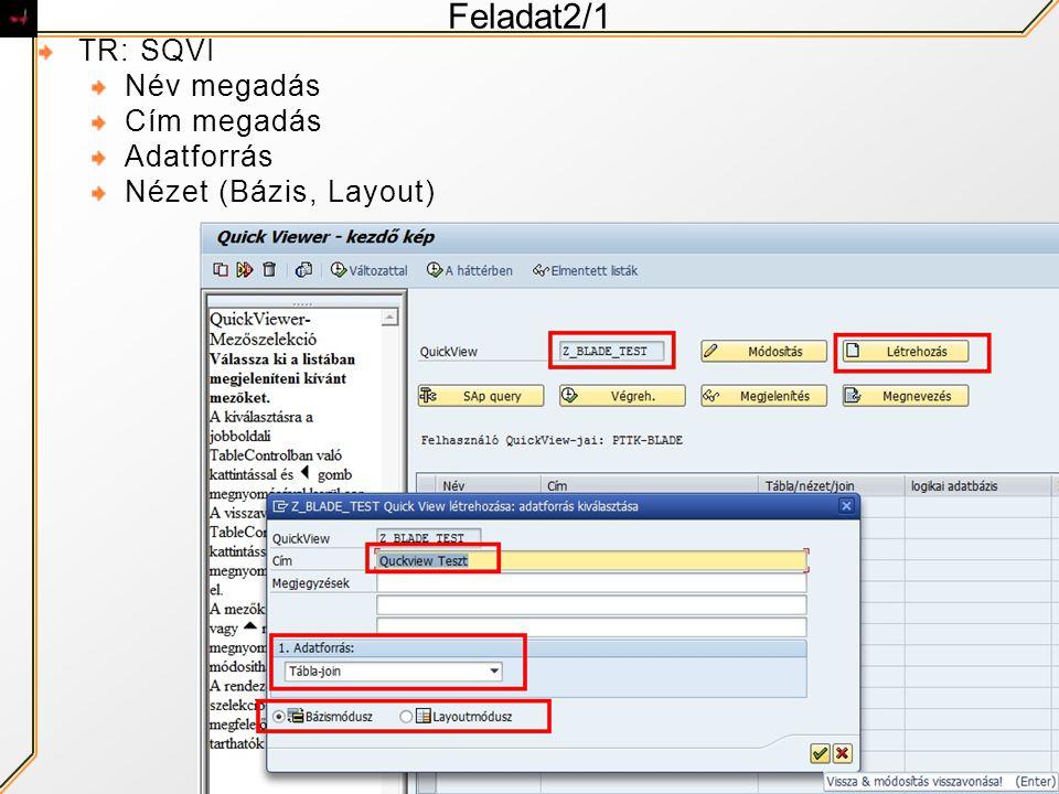 Feladat2/1 TR: SQVI Név megadás Cím megadás Adatforrás Nézet (Bázis, Layout)