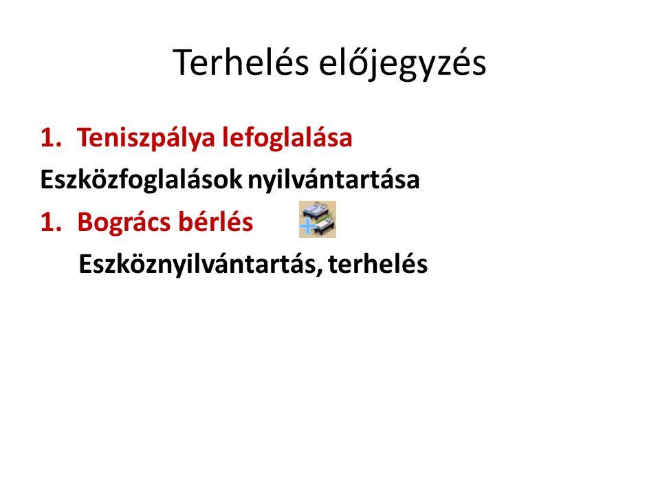 Terhelés előjegyzés 1.Teniszpálya lefoglalása Eszközfoglalások nyilvántartása 1.Bogrács bérlés Eszköznyilvántartás, terhelés
