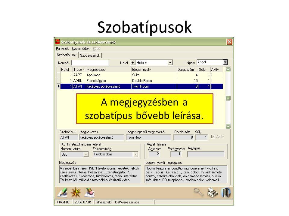 Szobatípusok A megjegyzésben a szobatípus bővebb leírása.