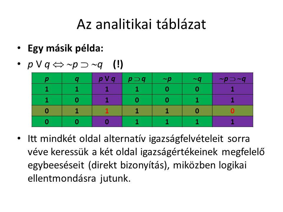 Az analitikai táblázat • Egy másik példa: • p V q   p   q (!) • Itt mindkét oldal alternatív igazságfelvételeit sorra véve keressük a két oldal ig