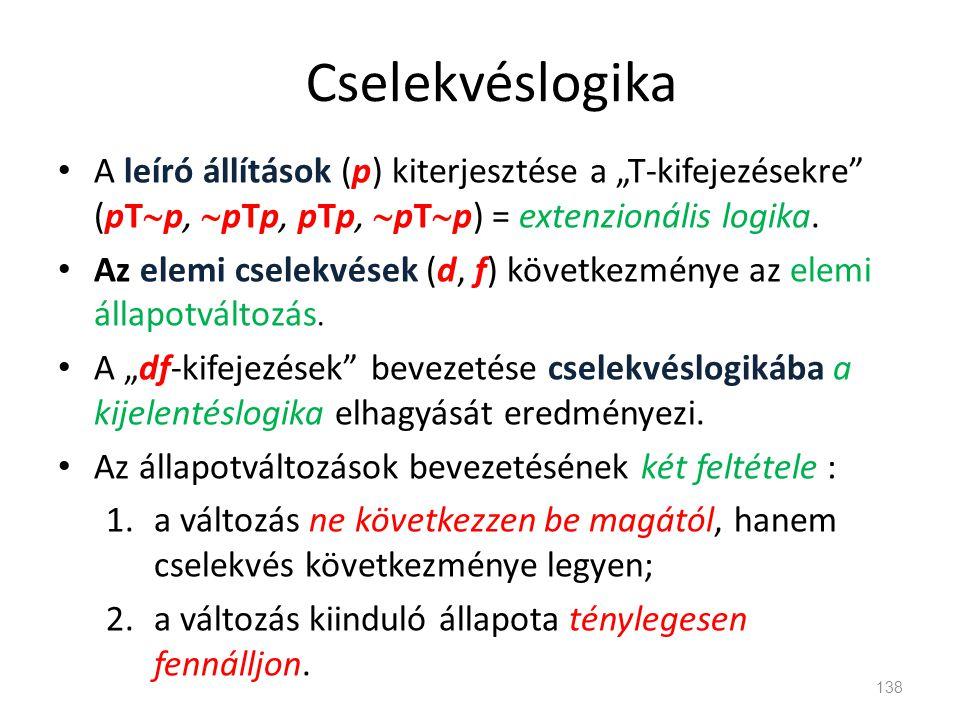 """Cselekvéslogika • A leíró állítások (p) kiterjesztése a """"T-kifejezésekre"""" (pT  p,  pTp, pTp,  pT  p) = extenzionális logika. • Az elemi cselekvése"""
