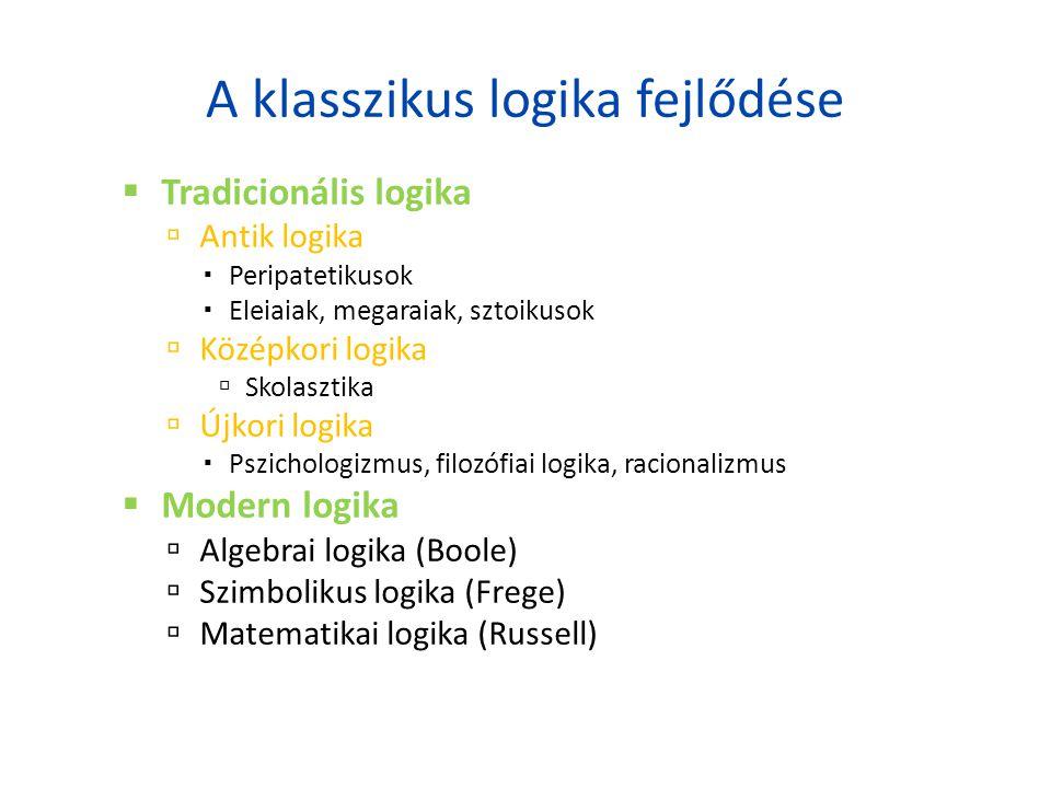 A klasszikus logika fejlődése  Tradicionális logika  Antik logika  Peripatetikusok  Eleiaiak, megaraiak, sztoikusok  Középkori logika  Skolaszti