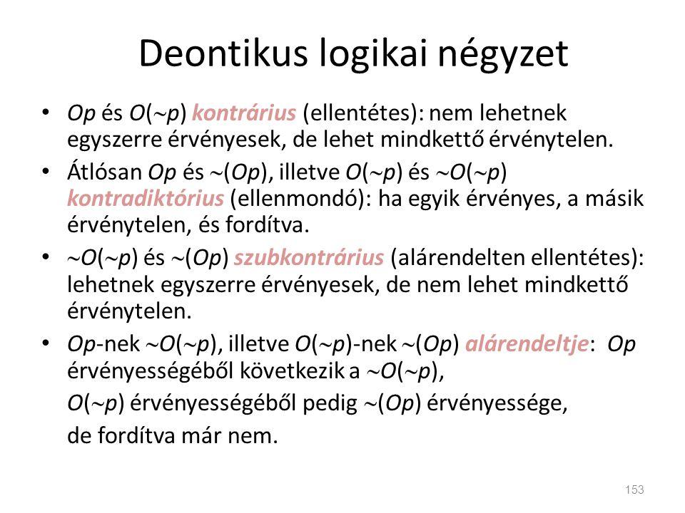 Deontikus logikai négyzet • Op és O(  p) kontrárius (ellentétes): nem lehetnek egyszerre érvényesek, de lehet mindkettő érvénytelen. • Átlósan Op és