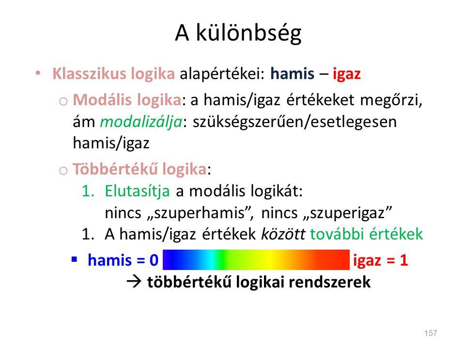 A különbség • Klasszikus logika alapértékei: hamis – igaz o Modális logika: a hamis/igaz értékeket megőrzi, ám modalizálja: szükségszerűen/esetlegesen