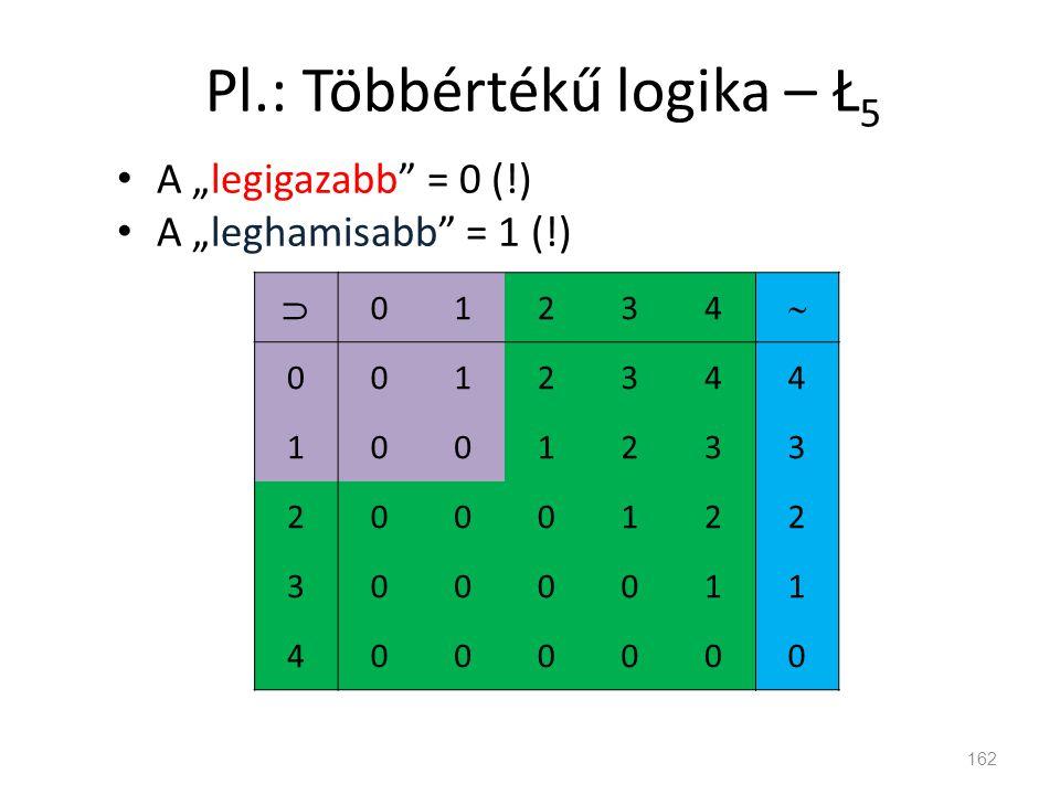 """Pl.: Többértékű logika – Ł 5 • A """"legigazabb"""" = 0 (!) • A """"leghamisabb"""" = 1 (!) 162  01234  0012344 1001233 2000122 3000011 4000000"""