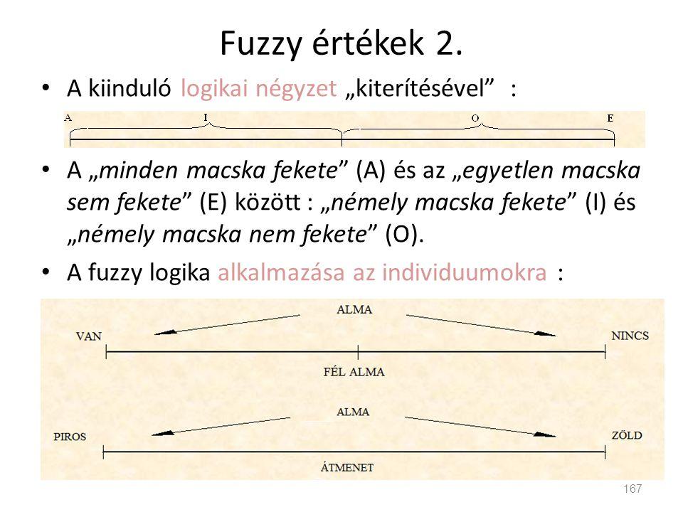 """Fuzzy értékek 2. • A kiinduló logikai négyzet """"kiterítésével"""" : • A """"minden macska fekete"""" (A) és az """"egyetlen macska sem fekete"""" (E) között : """"némely"""