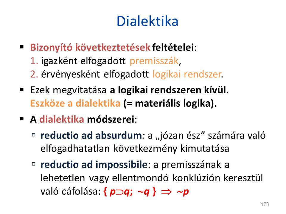 Dialektika  Bizonyító következtetések feltételei: 1. igazként elfogadott premisszák, 2. érvényesként elfogadott logikai rendszer.  Ezek megvitatása