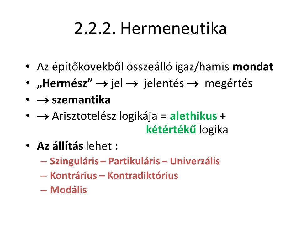 """2.2.2. Hermeneutika • Az építőkövekből összeálló igaz/hamis mondat • """"Hermész""""  jel  jelentés  megértés •  szemantika •  Arisztotelész logikája ="""