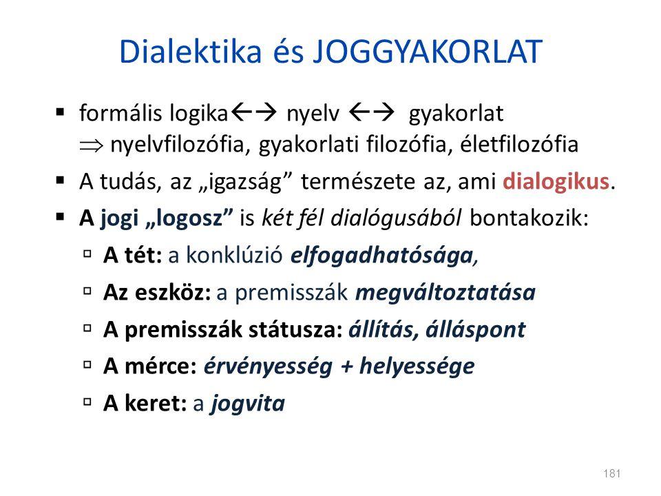 """Dialektika és JOGGYAKORLAT  formális logika  nyelv  gyakorlat  nyelvfilozófia, gyakorlati filozófia, életfilozófia  A tudás, az """"igazság"""" termé"""