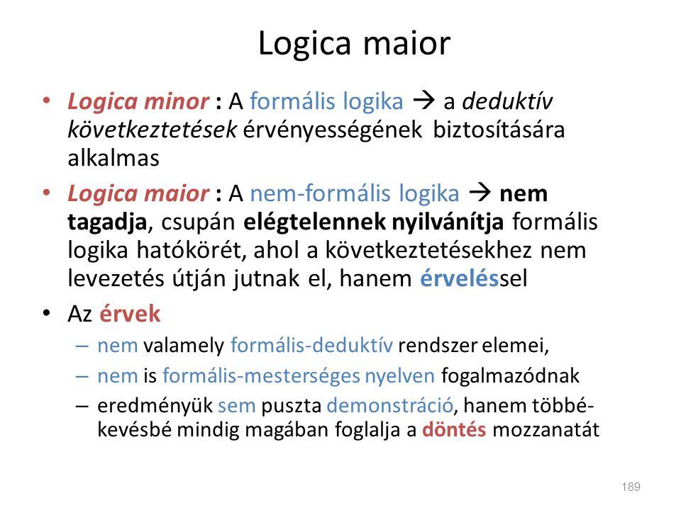 Logica maior • Logica minor : A formális logika  a deduktív következtetések érvényességének biztosítására alkalmas • Logica maior : A nem-formális lo