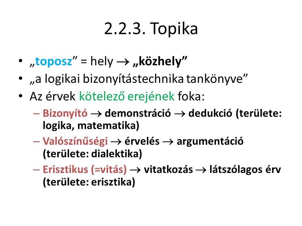 """2.2.3. Topika • """"toposz"""" = hely  """"közhely"""" • """"a logikai bizonyítástechnika tankönyve"""" • Az érvek kötelező erejének foka: – Bizonyító  demonstráció """
