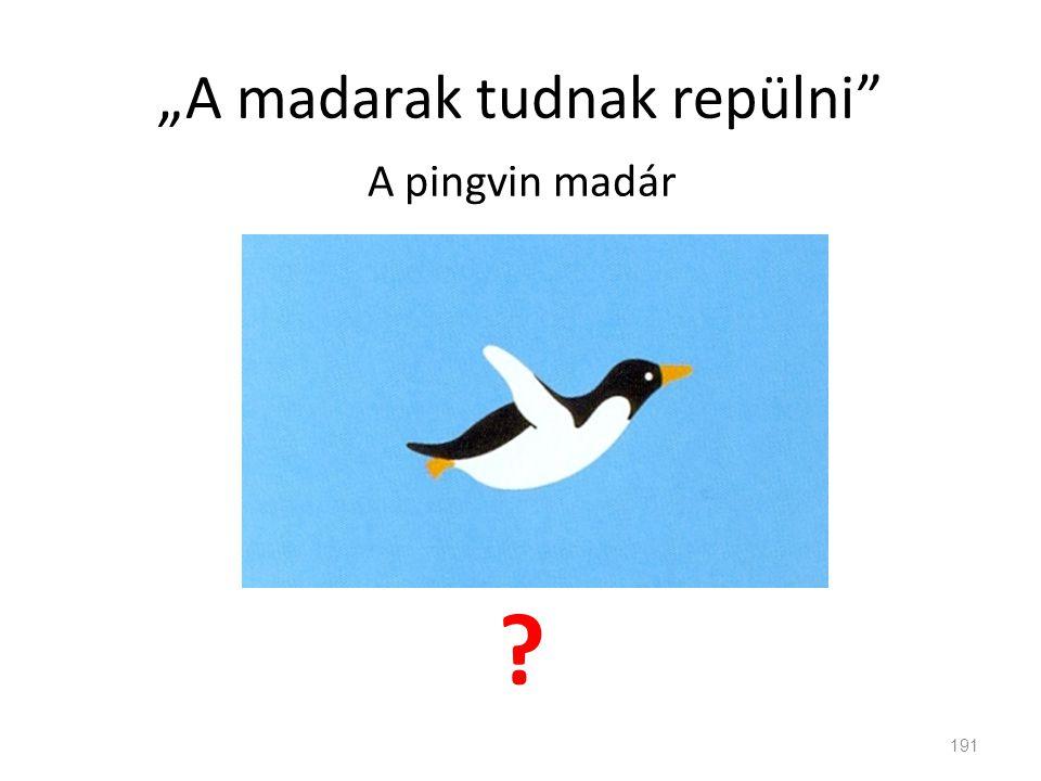"""""""A madarak tudnak repülni"""" A pingvin madár ? 191"""