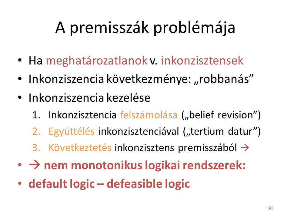 """A premisszák problémája • Ha meghatározatlanok v. inkonzisztensek • Inkonziszencia következménye: """"robbanás"""" • Inkonziszencia kezelése 1.Inkonzisztenc"""