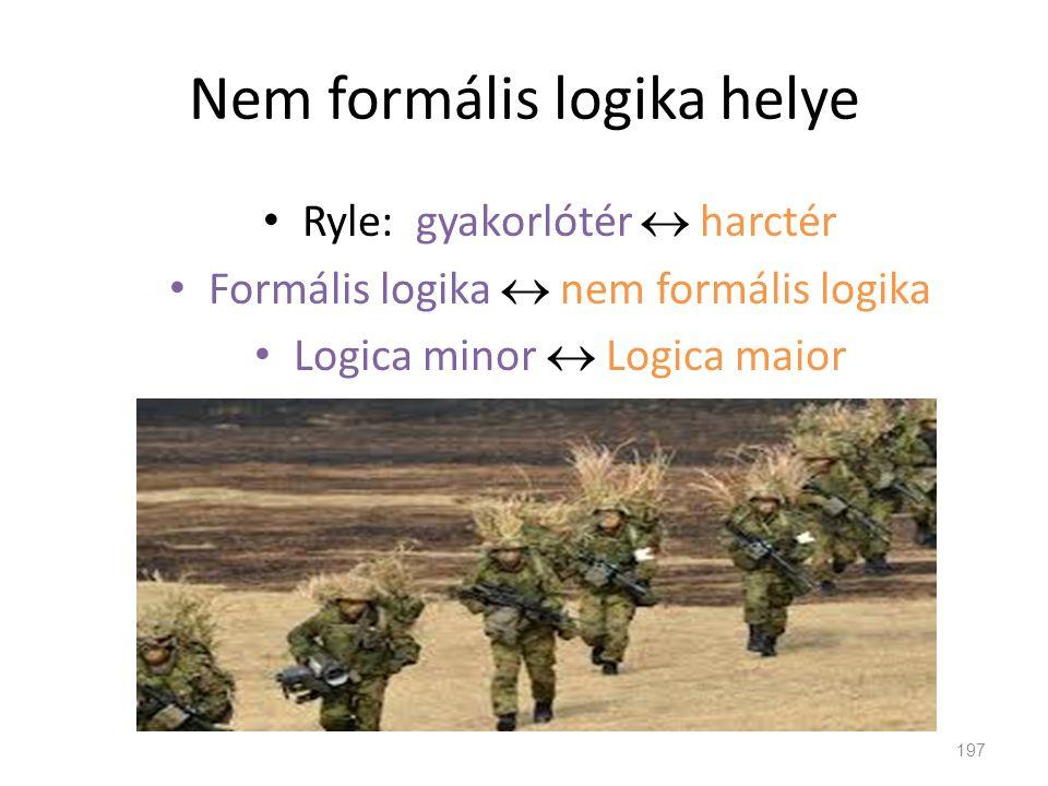 Nem formális logika helye 197 • Ryle: gyakorlótér  harctér • Formális logika  nem formális logika • Logica minor  Logica maior