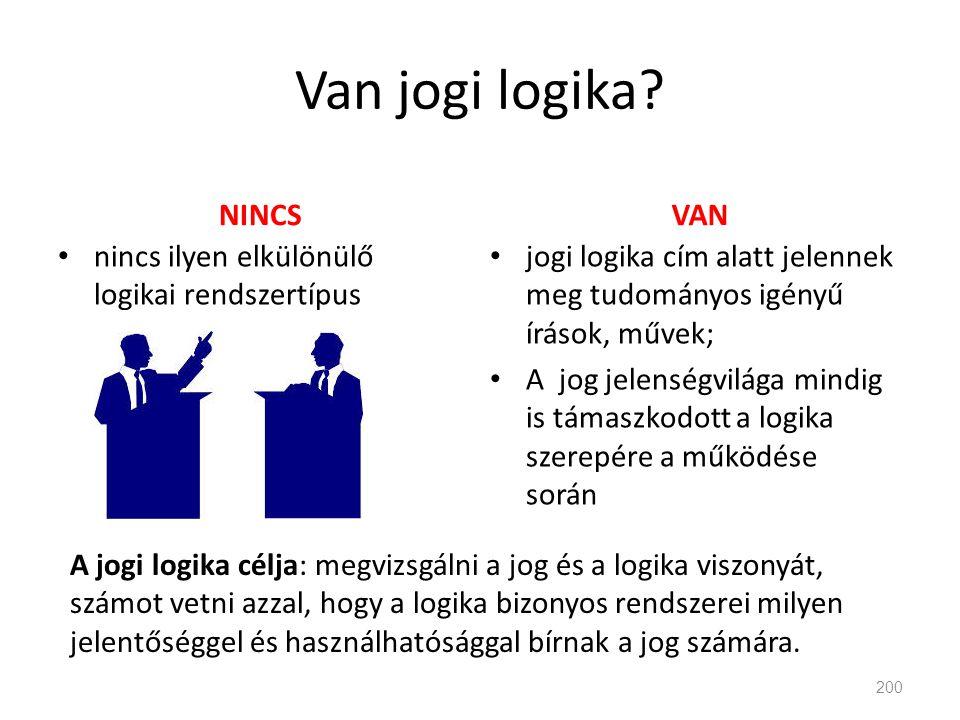 Van jogi logika? NINCSVAN 200 A jogi logika célja: megvizsgálni a jog és a logika viszonyát, számot vetni azzal, hogy a logika bizonyos rendszerei mil