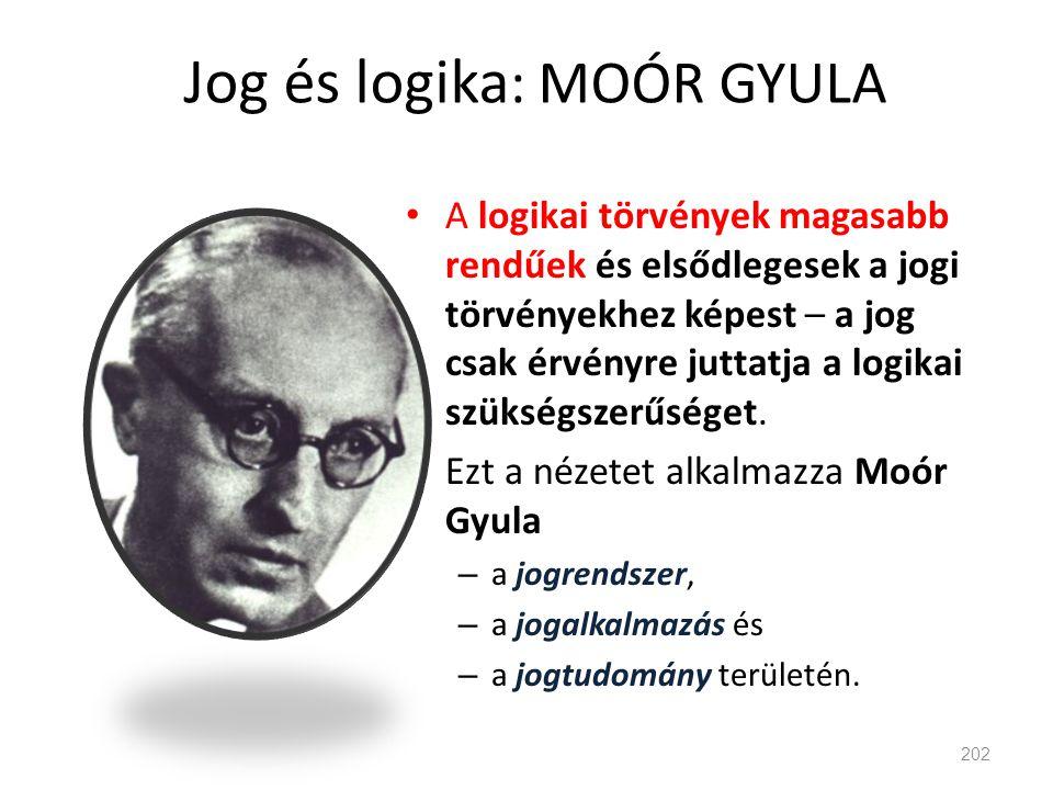 Jog és logika : MOÓR GYULA • A logikai törvények magasabb rendűek és elsődlegesek a jogi törvényekhez képest – a jog csak érvényre juttatja a logikai