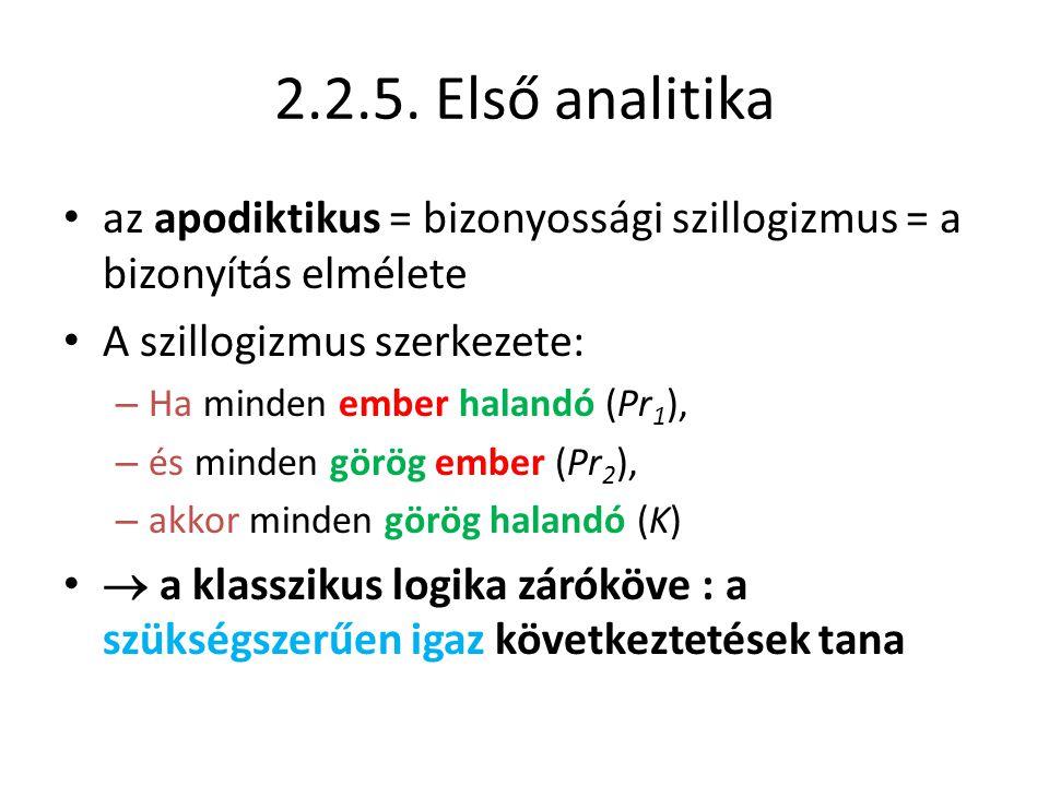 2.2.5. Első analitika • az apodiktikus = bizonyossági szillogizmus = a bizonyítás elmélete • A szillogizmus szerkezete: – Ha minden ember halandó (Pr