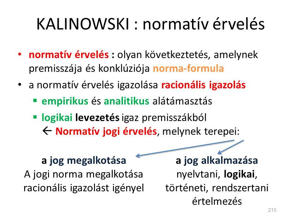 KALINOWSKI : normatív érvelés • normatív érvelés : olyan következtetés, amelynek premisszája és konklúziója norma-formula • a normatív érvelés igazolá