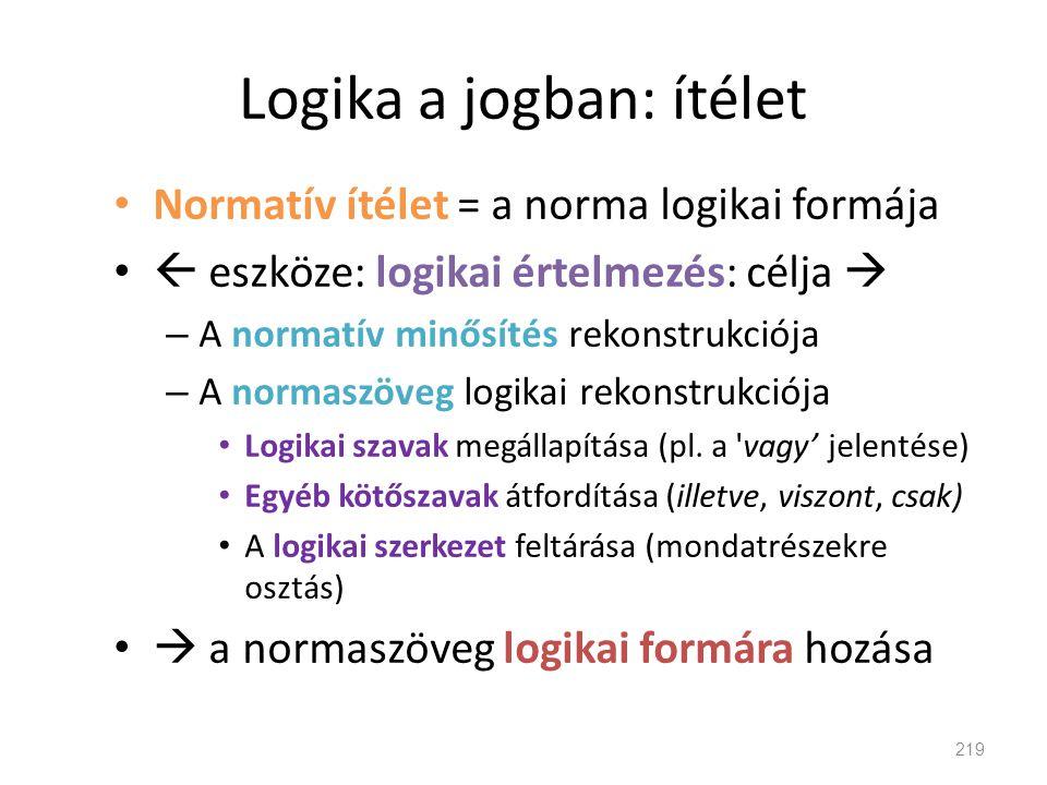 Logika a jogban: ítélet • Normatív ítélet = a norma logikai formája •  eszköze: logikai értelmezés: célja  – A normatív minősítés rekonstrukciója –