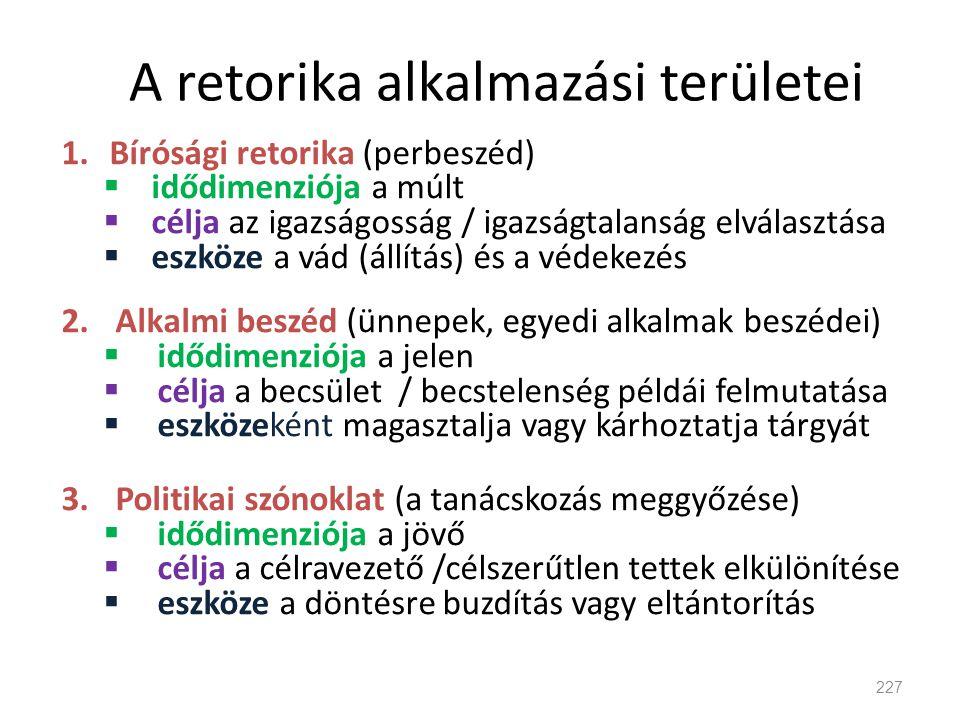 A retorika alkalmazási területei 1.Bírósági retorika (perbeszéd)  idődimenziója a múlt  célja az igazságosság / igazságtalanság elválasztása  eszkö
