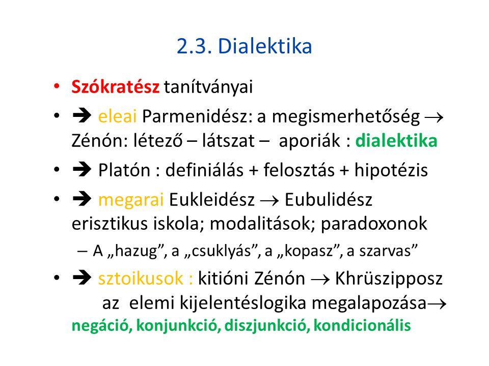 2.3. Dialektika • Szókratész tanítványai •  eleai Parmenidész: a megismerhetőség  Zénón: létező – látszat – aporiák : dialektika •  Platón : defini