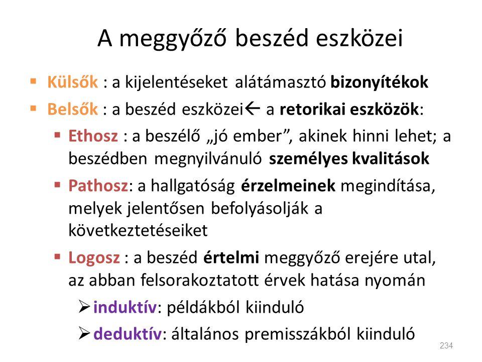 A meggyőző beszéd eszközei  Külsők : a kijelentéseket alátámasztó bizonyítékok  Belsők : a beszéd eszközei  a retorikai eszközök:  Ethosz : a besz
