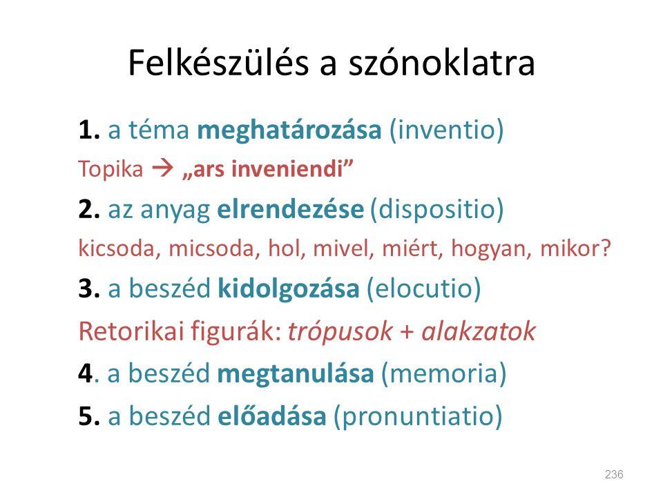 """Felkészülés a szónoklatra 236 1. a téma meghatározása (inventio) Topika  """"ars inveniendi"""" 2. az anyag elrendezése (dispositio) kicsoda, micsoda, hol,"""