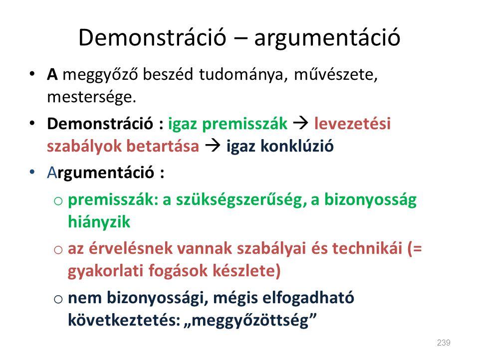 Demonstráció – argumentáció • A meggyőző beszéd tudománya, művészete, mestersége. • Demonstráció : igaz premisszák  levezetési szabályok betartása 