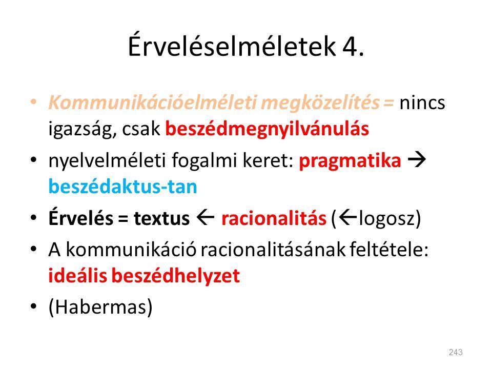 Érveléselméletek 4. • Kommunikációelméleti megközelítés = nincs igazság, csak beszédmegnyilvánulás • nyelvelméleti fogalmi keret: pragmatika  beszéda