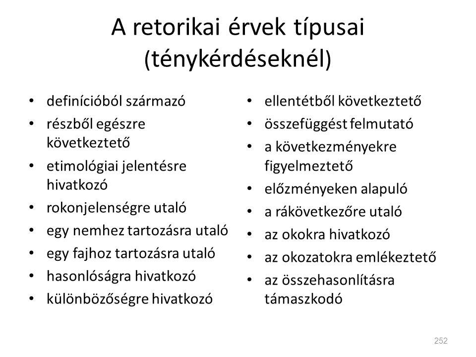 A retorikai érvek típusai ( ténykérdéseknél ) • definícióból származó • részből egészre következtető • etimológiai jelentésre hivatkozó • rokonjelensé