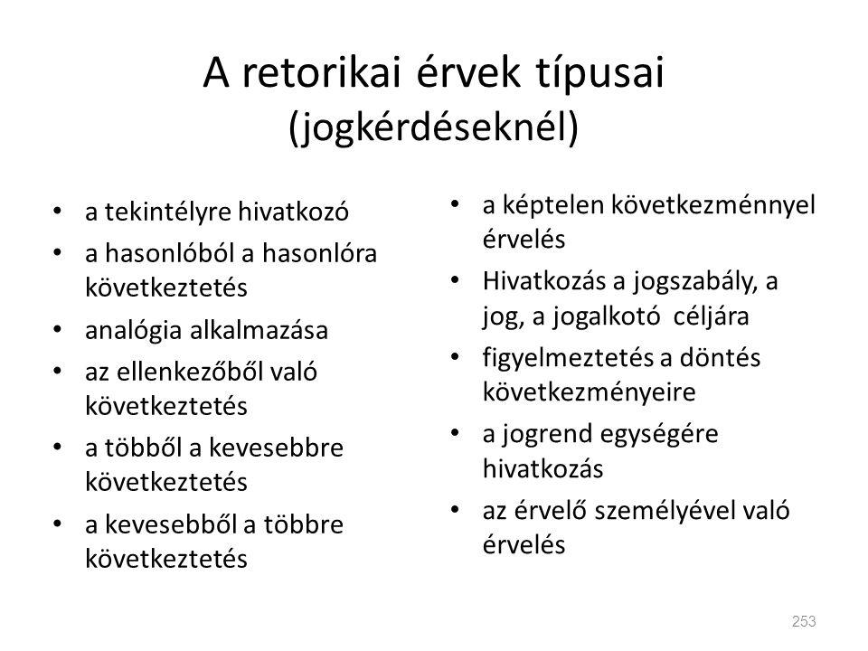 A retorikai érvek típusai (jogkérdéseknél) • a tekintélyre hivatkozó • a hasonlóból a hasonlóra következtetés • analógia alkalmazása • az ellenkezőből