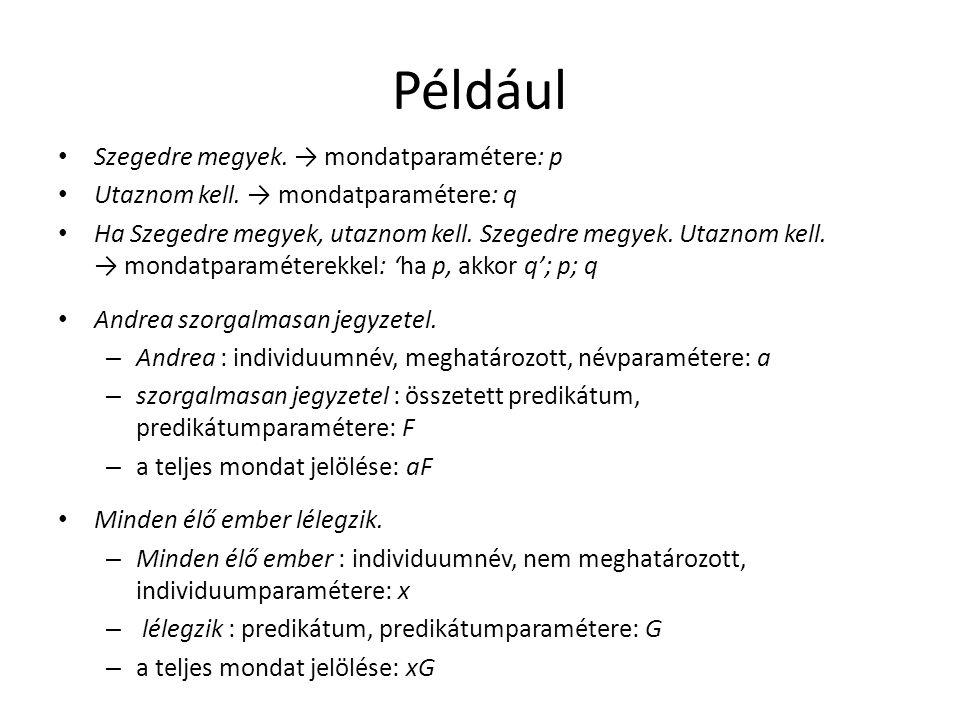 Például • Szegedre megyek. → mondatparamétere: p • Utaznom kell. → mondatparamétere: q • Ha Szegedre megyek, utaznom kell. Szegedre megyek. Utaznom ke