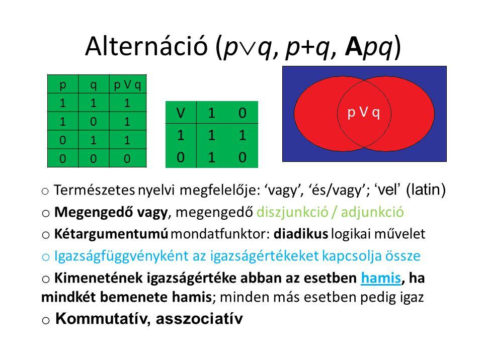 Alternáció (p  q, p+q, Apq) pqp V q 111 101 011 000 V10 111 010 o Természetes nyelvi megfelelője: 'vagy', 'és/vagy'; 'vel' (latin) o Megengedő vagy,