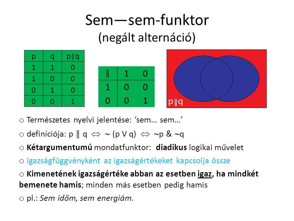 Sem—sem-funktor (negált alternáció) pqp║qp║q 110 100 010 001 ║ 10 100 001 o Természetes nyelvi jelentése: 'sem… sem…' o definíciója: p ║ q   (p V q)